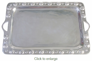Shell Border Mexican Pewter Serving Tray with Handles