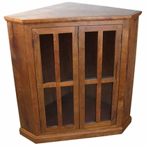Short Mesquite Corner Cabinet with Glass Doors