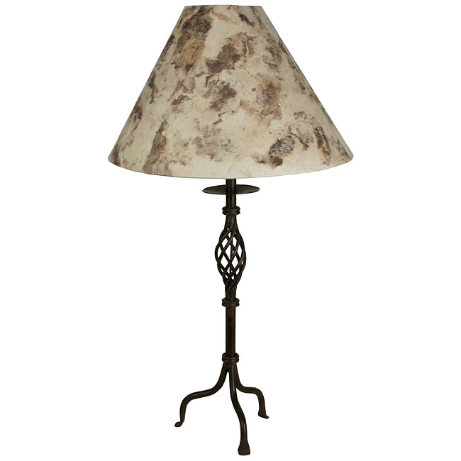 Skinny twisted wrought iron table lamp with bark paper shade mozeypictures Image collections