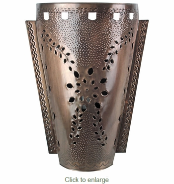 Slender Cone Punched Aged Tin Wall Sconce