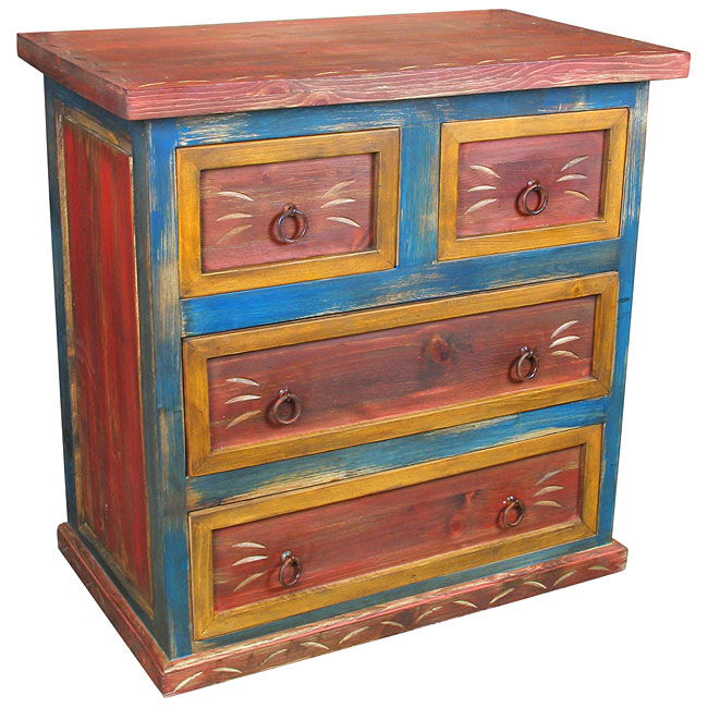 Small 4 Drawer Painted Wood Dresser Red Yellow And Blue