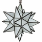 Small Aged Tin Frosted Glass Moravian Star Light - 10 Inch