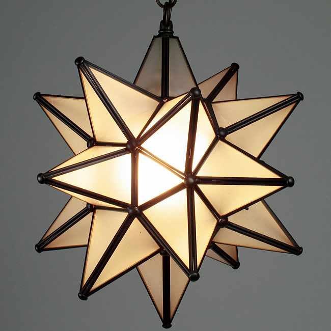 10 Inch Frosted Glass Star Fixture - Small Moravian Star Light