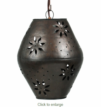 Small Aged Tin Margarita Hanging Light Fixture