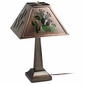 Small Aged Tin Taper Lamp with Cactus Shade