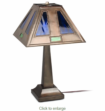 Small Aged Tin Taper Lamp with Inlayed Colored Glass Shade