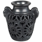 Small Black Carved Oaxacan Vase with Handles