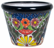 Small Bordered Talavera Flower Pot