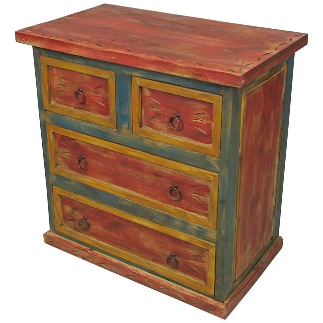 - Small Carved Mexican Painted Wood Dresser - 4 Drawer