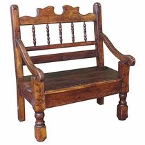 Small Carved Rustic Stained Wood Bench