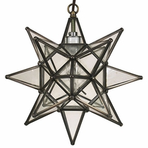 "Small Clear Star Hanging Light Fixture - 12"" Dia."