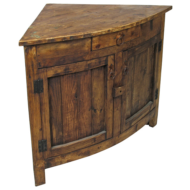 Finest Small Curved Front Rustic Corner Cabinet DL71