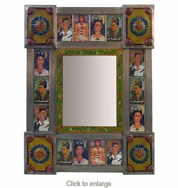 Mexican Hand Painted Folk Art Frames - Wood and Tin