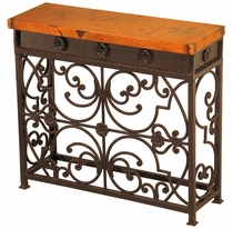 Small Gate Iron Base Console with Copper Top