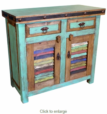 Small Green Painted Wood Buffet with Colorful Slat Doors