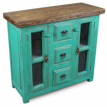 Small Green Painted Wood Buffet with Glass Panel Doors
