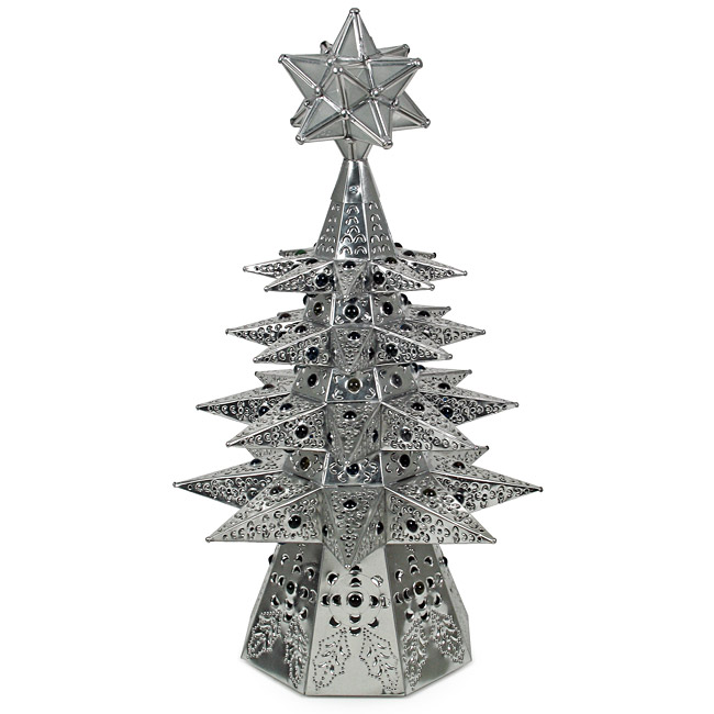 small lighted natural tin star christmas tree with colored marbles - Iron Christmas Tree
