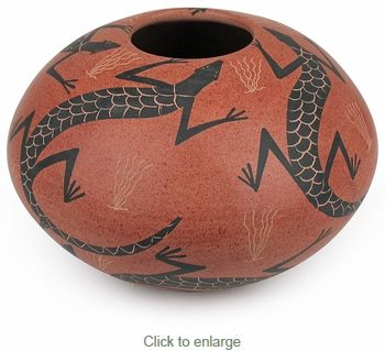 Small Mata Ortiz Southwest Lizard Pot