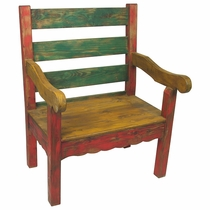 Small Mexican Country Style Painted Wood Bench