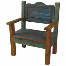 Small Mexican Painted Wood Captains Chair