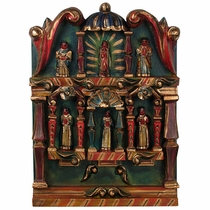 Small Mexican Retablo with Hand Carved Painted Figures