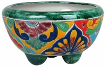 Small Mexican Talavera Footed Planter