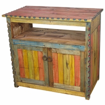 Small Multicolor Painted Wood TV Stand