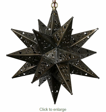 Small Ornate Punched Tin Star Fixture