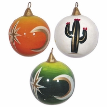 Small Painted Clay Christmas Balls - Set of 3