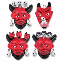 Small Painted Clay Devil and Skull Masks - Set of 2