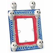 Small Painted Clay Skull Picture Frame