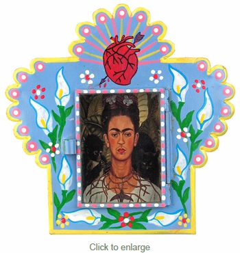 Small Painted Tin Nicho with Frida Kahlo Print