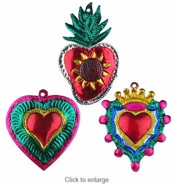 Small Painted Tin Oaxacan Heart Ornaments - Set of 6