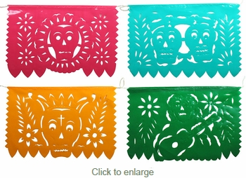 Small Plastic Day of the Dead Picado Banners - Set of 2