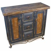 Small Rustic Buffet with Iron Base - Black