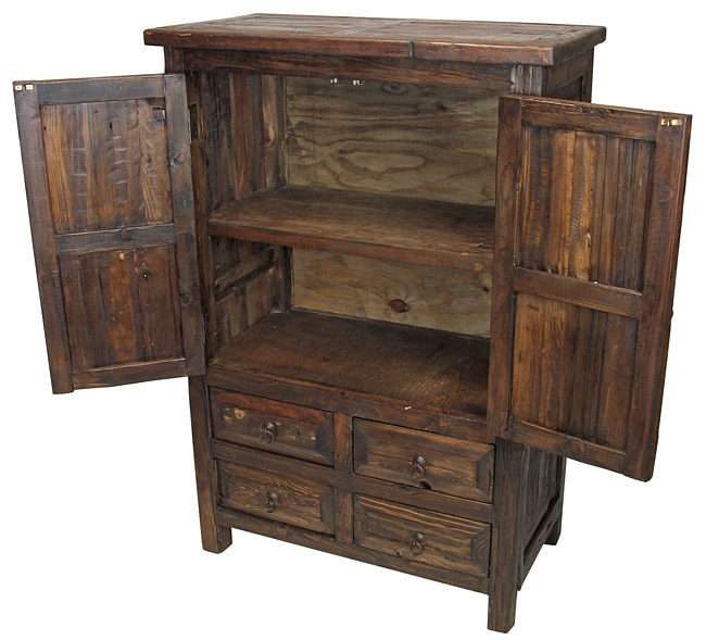 - Small Reclaimed Wood Armoire - 2 Doors And 4 Drawers