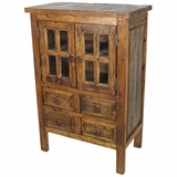 Beau Small Rustic Old Wood Cabinet   2 Paned Glass Doors And 4 Drawers