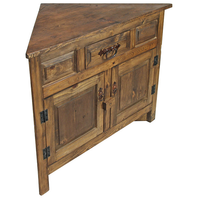 Super Small Rustic Wood Corner Cabinet with Two Doors SB07