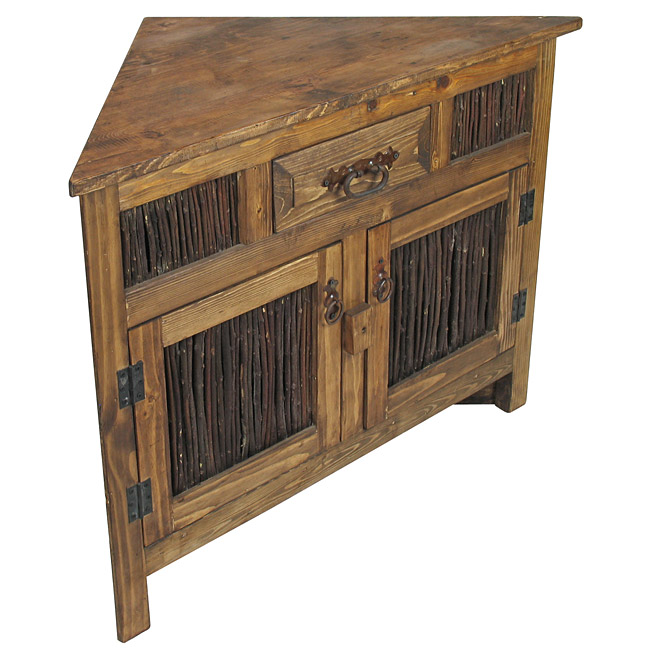 Small Rustic Wood Corner Cabinet With Twig Doors