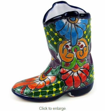 Small Talavera Boot Vase