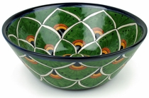 Small Talavera Round Serving Bowl - Peacock Pattern