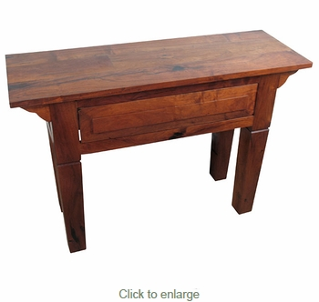 Small Tapered Leg Mesquite Sofa Table with Drawer