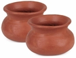 Small Terra Cotta Curvy Flat Pot - Pair