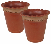 Small Terra Cotta Wavy Lip Flower Pots - Set of 2