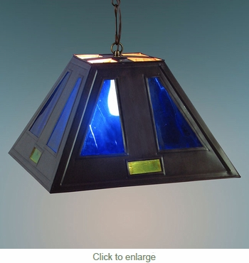 Small Tin Hanging Pendant Shade with Blue Glass