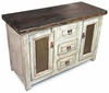 Small Whitewashed Rustic Sideboard with Tin and Iron