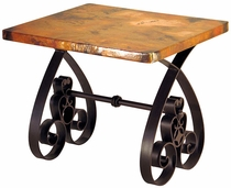 Southern Iron Base End Table with Copper Top