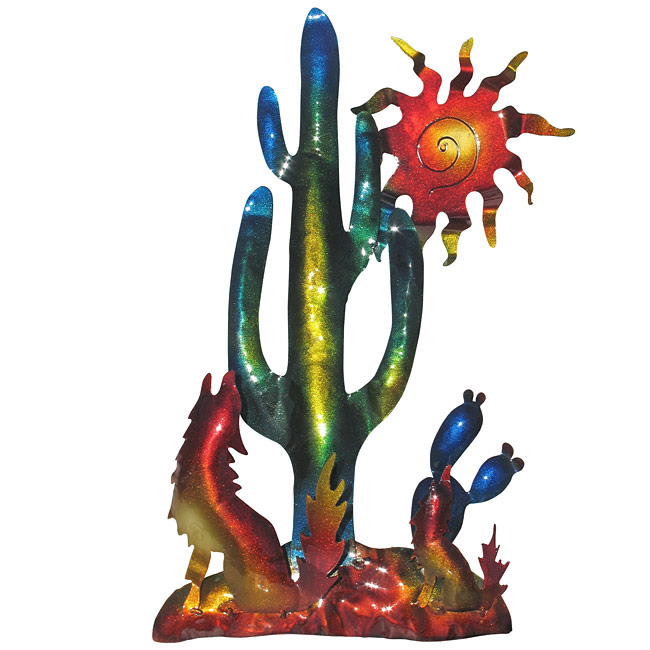 sc 1 st  Direct From Mexico & Southwest Desert 3D Metal Wall Art - Sun with Cactus and Coyote