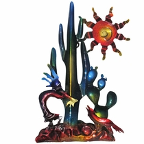 Southwest Kokopelli and Cactus 3D Metal Wall Art