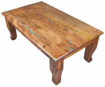 Southwest Mesquite Coffee Table with Turquoise Inlay